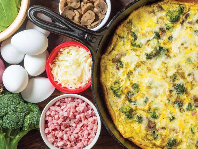 Broccoli, spinach and mushroom friatta: Bursting with veggies and flavor, this oven-baked egg dish makes a perfect brunch entree