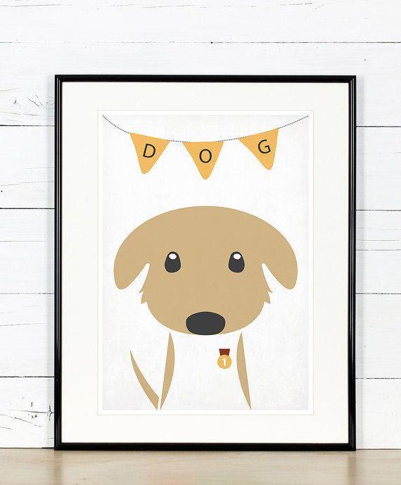 Retro poster - dog, puppy, animals, pets - vintage art print, A3, nursery wall decoration, retro wall decor, cute baby animal
