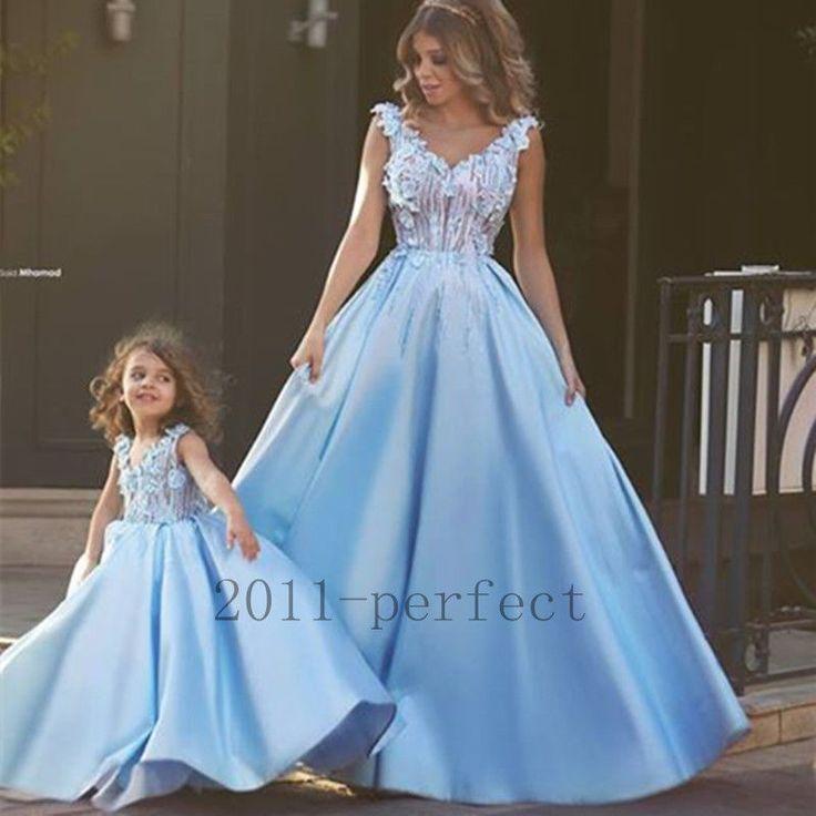 New Sky Blue Wedding Dresses Appliques Petals V Neck A Line Bridal Gowns Custom | eBay