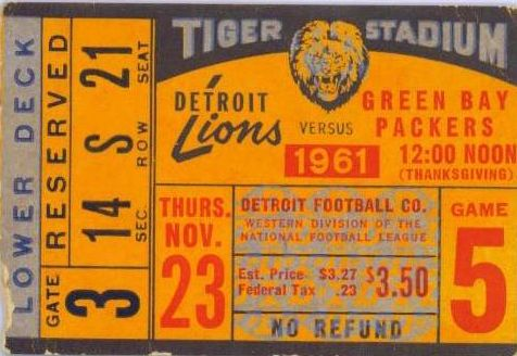 Tiger Stadium 1960s football ticket. The Detroiter in me is pleased.