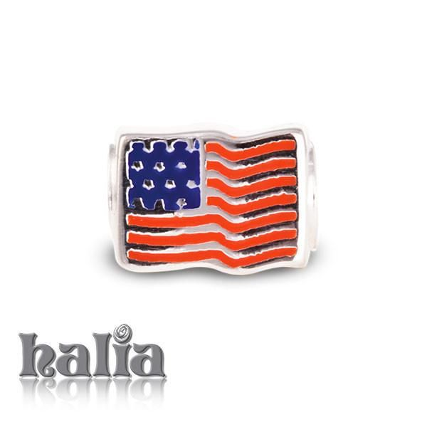 American Flag - Proudly waving american flag in red and blue enamel on sterling silver: designed exclusively by Halia, this bead fits other popular bead-style charm bracelets as well. #happyfourthofjuly #america #usa #fourthofjuly #4ofjuly #sterlingsilver #silver925 #metalsmiths925