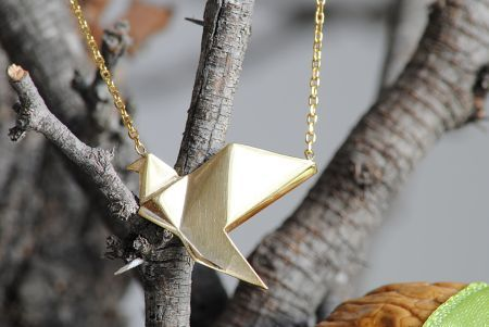 Origami 925 gümüş kuş kolye