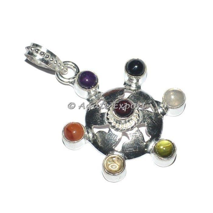 11 best chakra pendants chakra jewllery images on pinterest round seven chakra healing pendants mozeypictures Image collections
