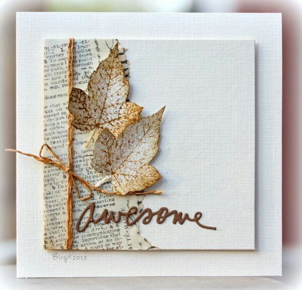 handmade fall card ... elegant look with lots of white space .. upcycled paper ... Autumn leaves ... die cut AWESOME in handwriting script ...