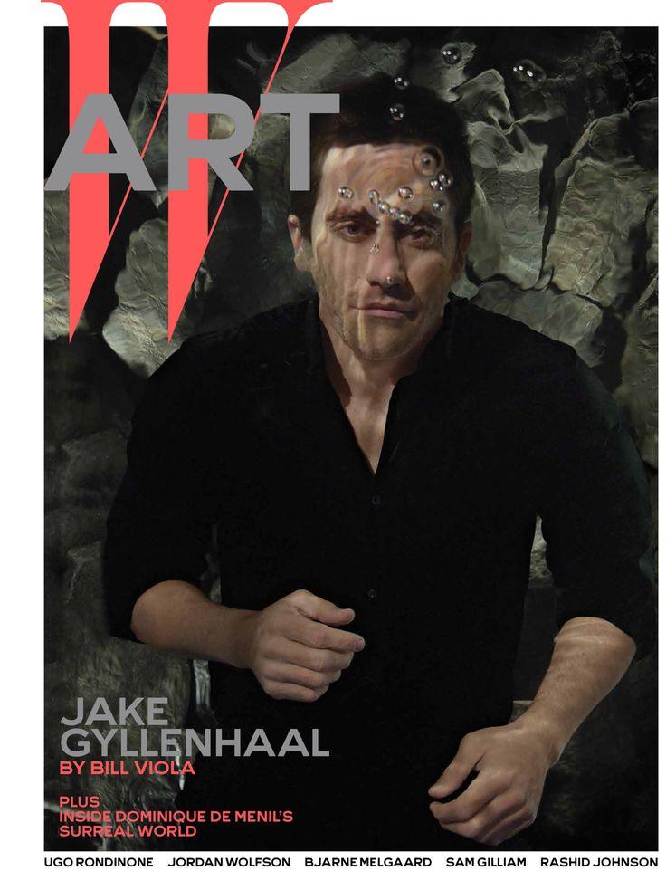 Jake Gyllenhaal by Bill Viola - Jake Gyllenhaal on W's December 2014 Art cover. Gyllenhaal wears Boss shirt and pants.