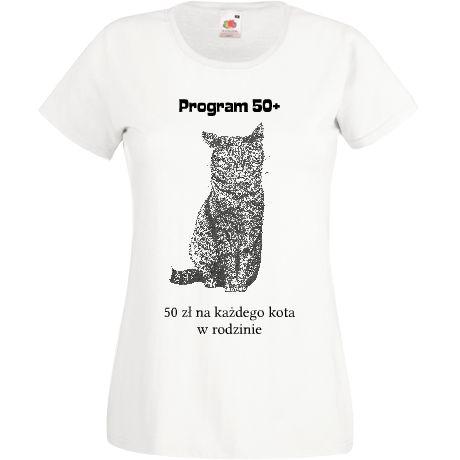 Koszulka z kotkiem. Grafika piórkiem. Nawiązanie do programu 500+. W końcu kot też członek rodziny :))