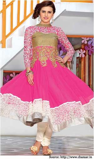 The celebrities are often seen wearing these designer pieces with different colors and designs. The colour of an Anarkali suit plays a very vital role in its attractiveness. Perfection can be achieved by choosing the best combination of color and design.