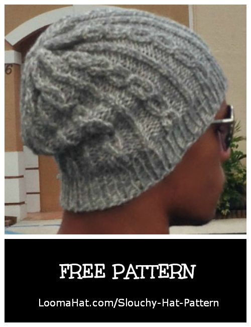 Slouchy Hat Pattern -The Chain Links - FREE and Easy with Video Tutorial - Great Looking Beanie Hat with 2 Stitch Cables. Perfect for Men or Women.