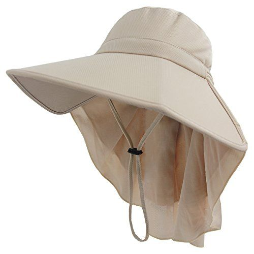 ef98304d Womens Foldable Sun Hat,Outdoor UV Protection Summer Fishing Safari Hat  with Neck Cover Flap