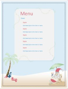 Santa Party Menu Sheet DOWNLOAD at http://www.templateinn.com/10-menu-sheet-templates-for-ms-word/