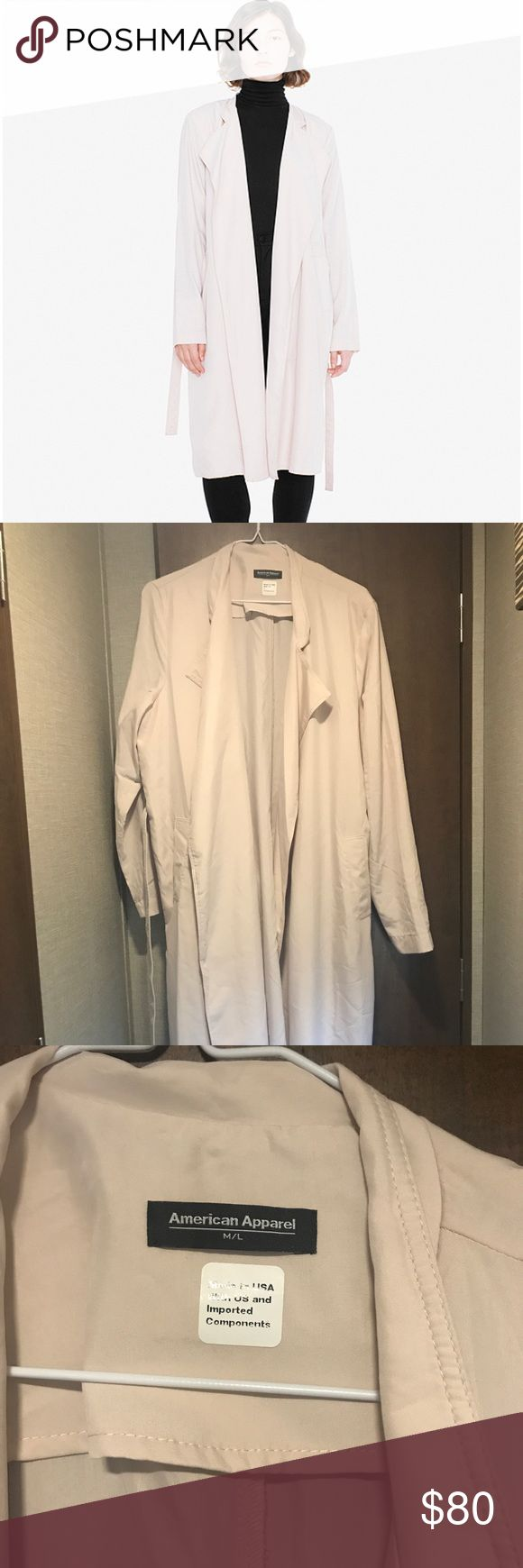 American Apparel Lightweight Trench Coat Beautiful trendy American Apparel light pink coat! Size M/L. Loose fit💕 American Apparel Jackets & Coats Trench Coats
