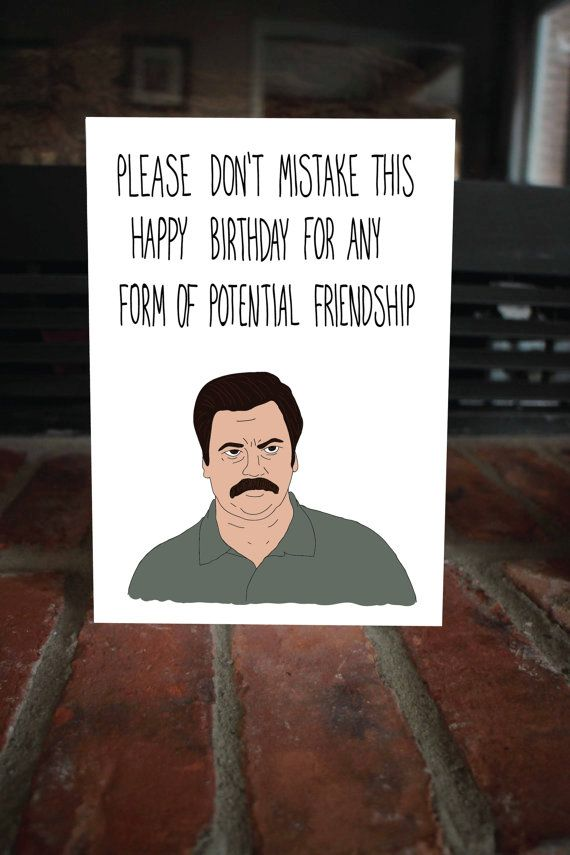 Ron Swanson Birthday Card, Sarcastic Parks and Rec Card, Funny Birthday Card