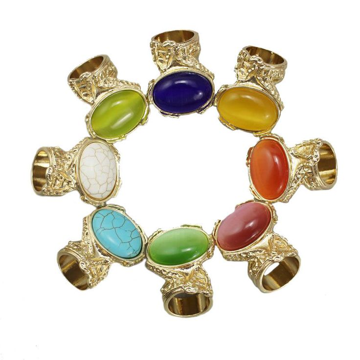 Turquoise Oval Stone Opal Finger Rings For Women Gold Plated Arty Ring Party Love Jewelry Bague Femme Boho Mood Ring Bijoux