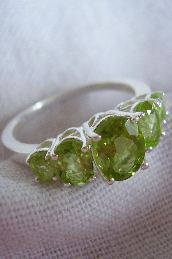Solid Silver Peridot Ring 5 Oval Faceted by Vintage0Sparklers
