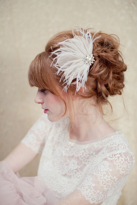 Bridal Hair Piece, bridal feather hair piece, gold headpiece, Flo Ships in 1 Month. $135,00, via Etsy.