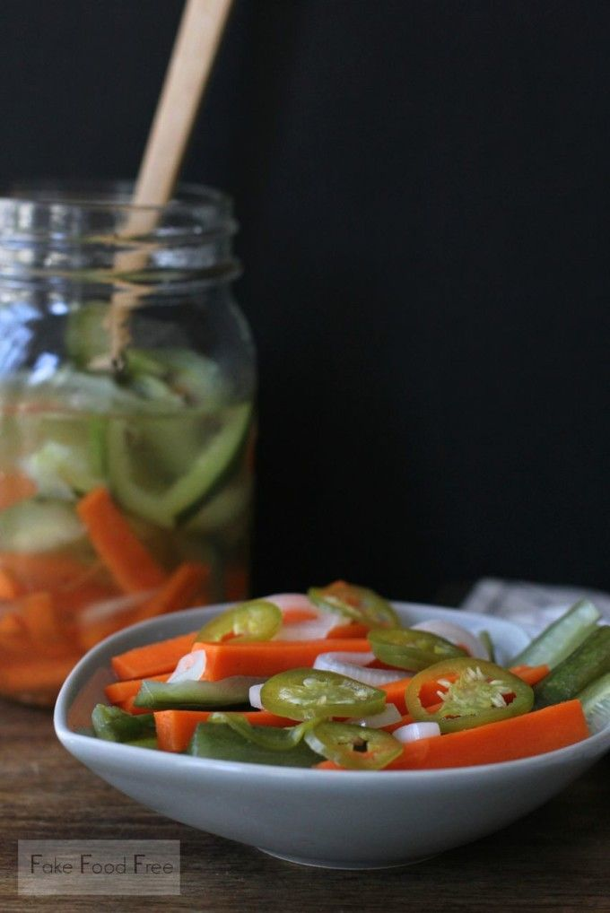 Javanese Carrot and Cucumber Pickle (Acar Timun) from the cookbook, Asian Pickles | fakefoodfree.com