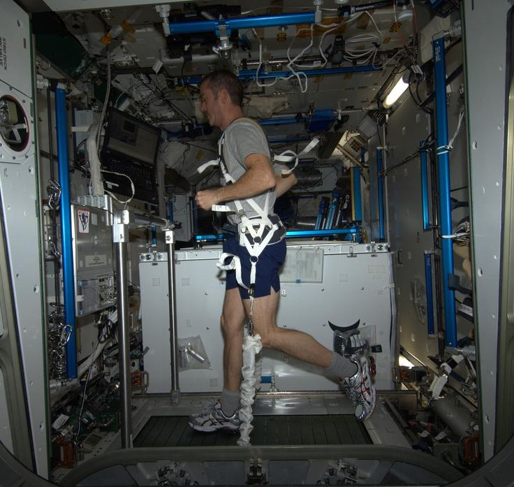 Running Weightless - my first-ever session on the T2 treadmill. I felt like a newborn calf, clumsy and awkward.  Photo from #Space by #Canadian Chris #Hadfield   #ChrisHadfield