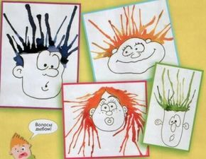 DIY Kids; Blow a Hairdo! All you need is a sheet with a Funny Cartoon Face, some Water Paint or Inkt (not waterproof inkt), a Straw to Blow the Paint/ Inkt into Swirly Hair!