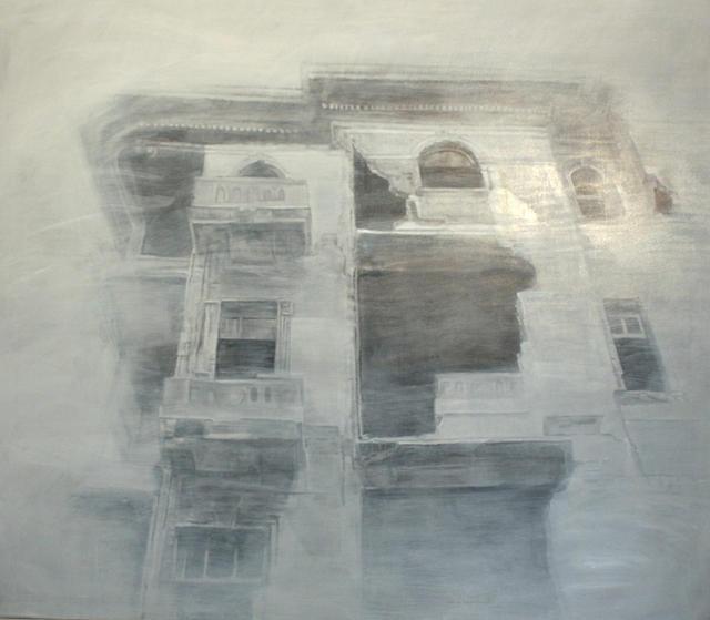 Ramón Serrano, series: Ideales Romanticos, Retrato de edificio No. A, oil on canvas, 78 x 90 in © Courtesy Corkin Gallery