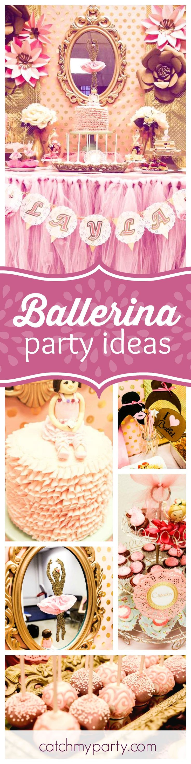 You won't want to miss this beautiful pink and gold Ballerina birthday party. The pink dessert table is gorgeous! See more party ideas and share yours at CatchMyParty.com