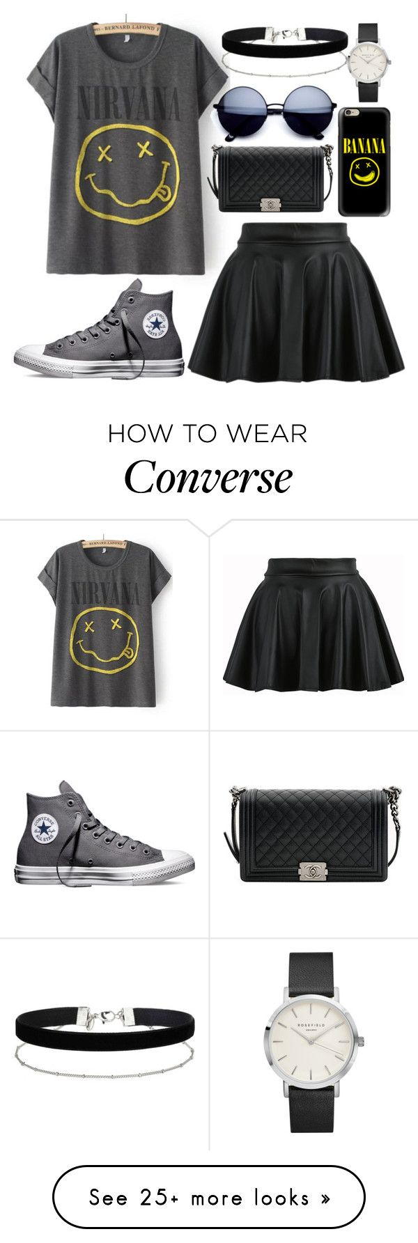 """""""Bez naslova #333"""" by dzchocolatess on Polyvore featuring Converse, Chanel, Casetify, Miss Selfridge, bandtshirt and bandtee"""