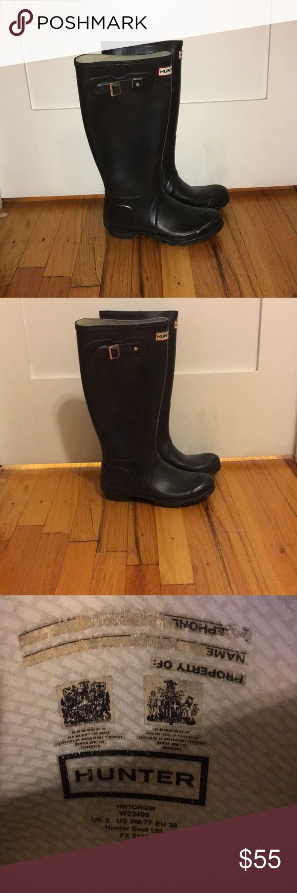Tall black Hunter boots Tall black hunter rain boots Matte black  Right boot buckle broke once but was fixed by a shoe maker with small piece of leather as shown in pic. Not noticeable Great condition Hunter Boots Shoes Winter & Rain Boots