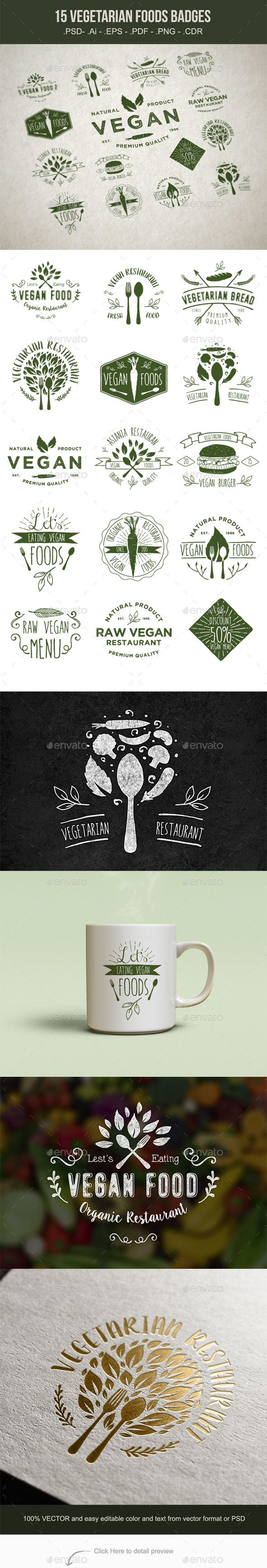 15 Vegetarian Foods Badges Vector Template #design Download: http://graphicriver.net/item/15-vegetarian-foods-badges/11184810?ref=ksioks