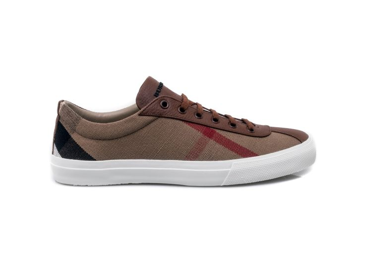 #BURBERRY - Sneakers for men in canvas and leather - Check - Elsa-boutique.it <3