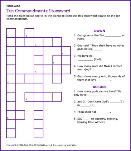 religious dot to dot pictures for older kids | Ten Commandments Crossword - Kids Korner - BibleWise