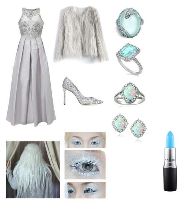 Ice Queen by ruffo-srn on Polyvore featuring polyvore, fashion, style, Adrianna Papell, Chicwish, Jimmy Choo, John Hardy, Allurez, Glitzy Rocks, Enduring Jewels, MAC Cosmetics and clothing