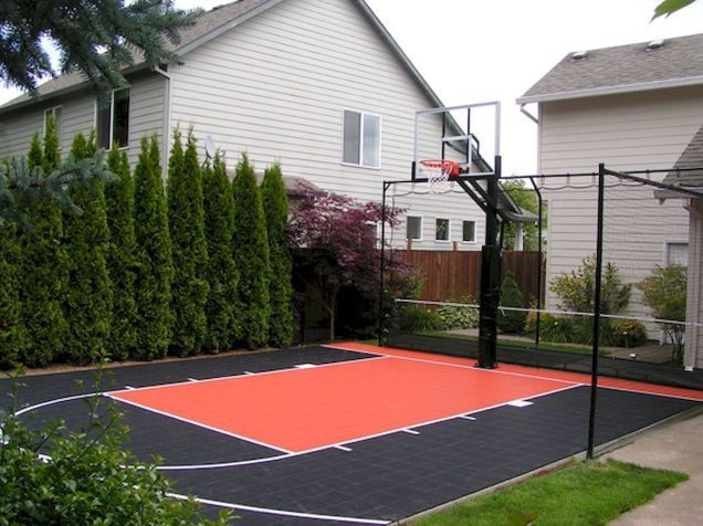 20 Nice Sport Court Backyard Design Ideas Basketball Court Backyard Backyard Court Backyard Basketball