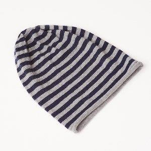 AIDA hat with stripes, light grey melange/dark blue stripes. This hat has 9mm wide stripes and is made in the softest, sustainable wool from a family owned spinning mill in Italy. A hat that will keep you warm and comfortable.