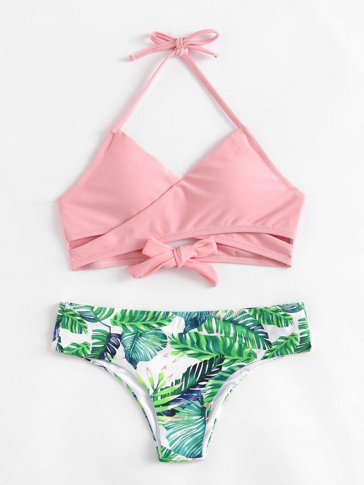 ¡Cómpralo ya!. Palm Print Wrap Self Tie Bikini Set. Pink Multicolor Bikinis Sexy Vacation Halter Top Polyester YES Print Swimwear. , bikini, bikini, biquini, conjuntosdebikinis, twopiece, bikini, bikini, bikini, bikini, bikinis. Bikini de mujer de SheIn.