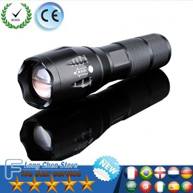 LED  Flashlight Rechargeable T6 linterna torchwith 18650 Battery Outdoor Camping