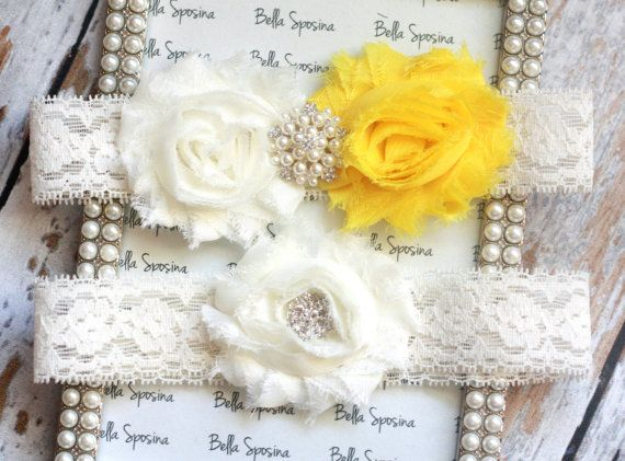 Canary Yellow Wedding Garter - Yellow Bridal Garter and Toss Garter -  Ivory Stretch Lace. $24.00, via Etsy.