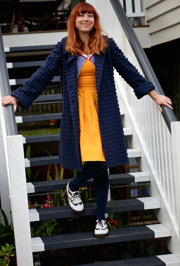 Charles Nolan coat with Cue dress and Senso flats. #cue #yellow #navy #waytofash