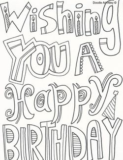 birthday wishes colouring pages
