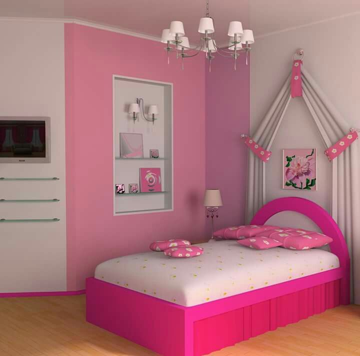 Bedroom: Elegantly Alluring Pink Teenage Girl Bedroom Design With Vibrant  Pink Bed Half Round Headboard White And Partial Soft Pink Wall Als.