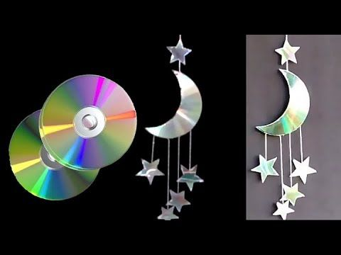 (28) How to make MOON🌙 and STAR⭐ Waste CD || Room Decor || Part -1 ||Art Id…