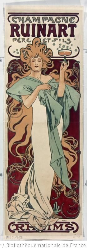 Alphonse Mucha, 1896. Courtesy of http://bnf.fr - Public Domain.  http://europeana.eu/portal/record/9200103/EDC269D88F875024F251EBF2AB89460490D20919.html: Alfons Mucha, Alphon Lot, Art Nouveau, Ruinart Champagne, Posters Design, Champagne Ruinart, Alphonsemucha, Alphonse Mucha, Art Noveau