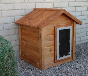 Hale Pet Door - Peaked Roof Security Barrier -- this is a cool idea!  You put this against the house in front of the doggie door and then it covers your dog door and is a cute little dog house too!