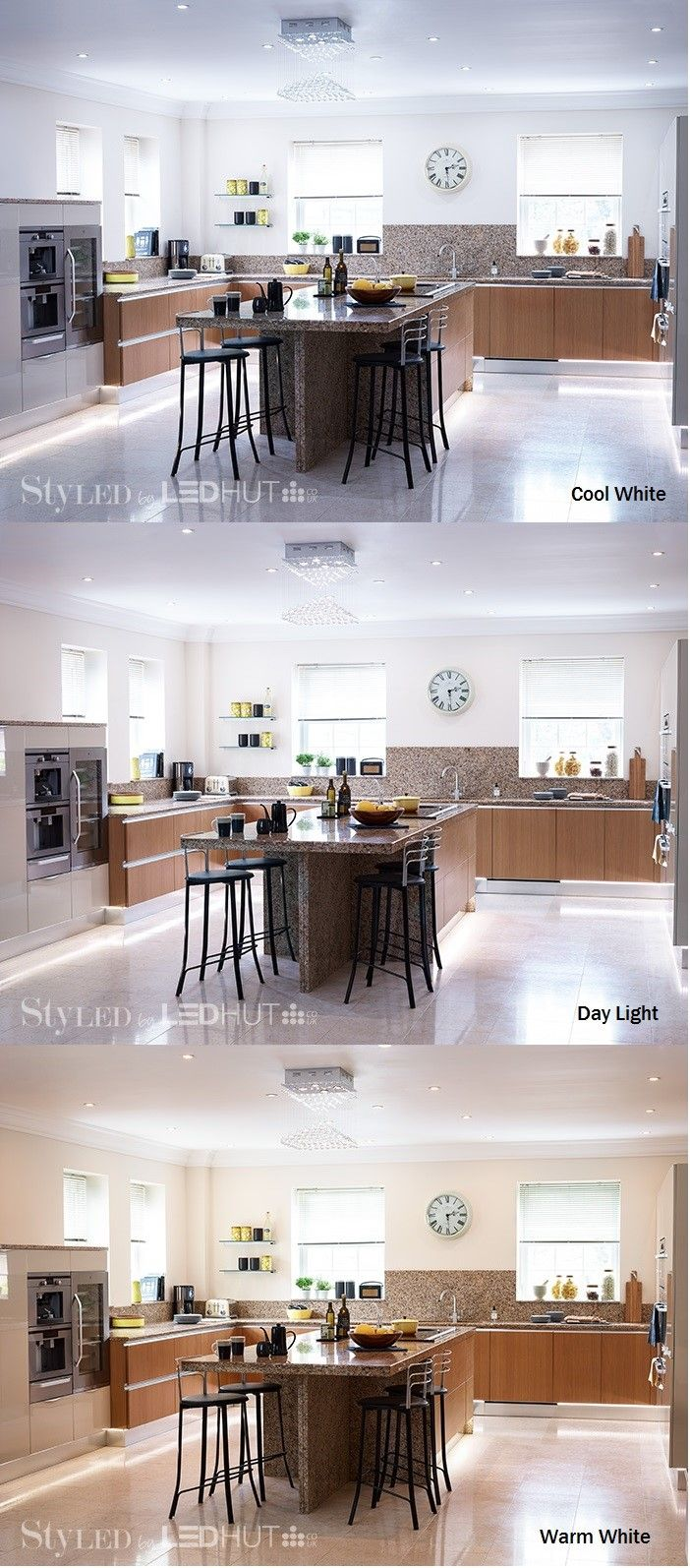 Create fresh, functional and homely kitchen lighting with LED spots. Choose between daylight, warm white or cool white light #StyLEDlighting