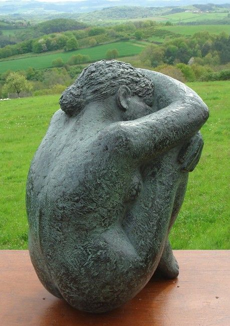 Karin Beek - female seated - head to knees wrapped in arms - #R0UGH PIN MIX