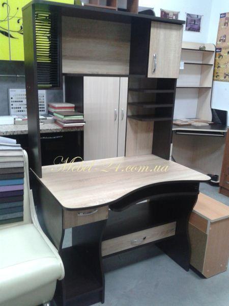 Стол СК 2 (Фото) дуб сонома и венге, фото компьютерных столов с полками, Купить в Киеве, дёшево