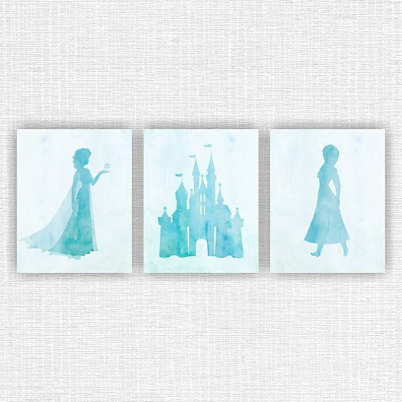Disney Frozen Wall Art, Elsa, Anna, Castle silhouette, Blue Watercolor Print, Set of 3, 8х10 instant download
