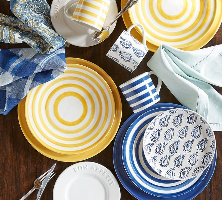 Reese Dinnerware Indigo Blue Set Of 4 Yellow