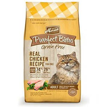 Merrick Purrfect Bistro Real Chicken Recipe dry cat food brief review pointing out ingredients to watch out for as well as a rating based on the ingredients used...