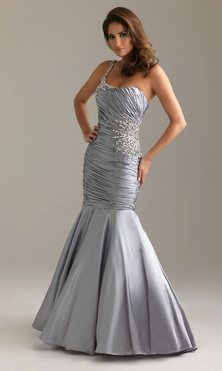 12 best silver prom dresses images on pinterest silver prom one shoulder ruched mermaid skirt sequin embellished long natural silver prom dress ombrellifo Gallery