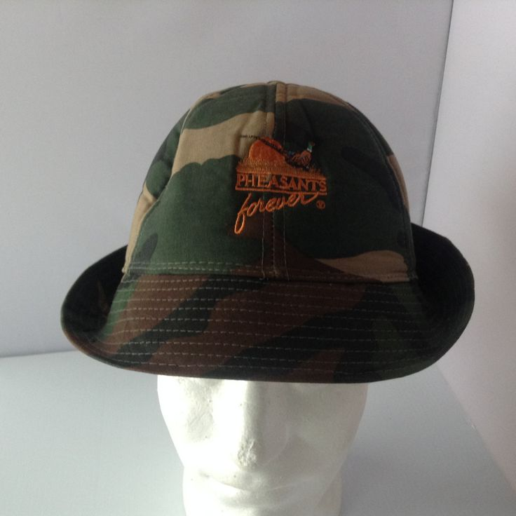 Vintage Pheasants Forever Hat Cap Camo Bucket Hat Hunting Outdoor by afunspottoshop on Etsy