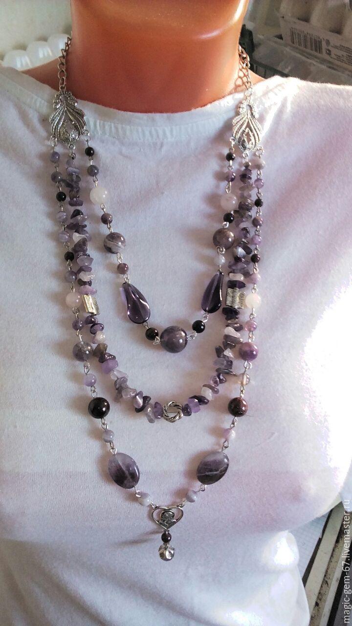 Купить Ожерелье и серьги из натурального аметиста - аметистовые бусы, ожерелье из аметиста, бусы из аметиста
